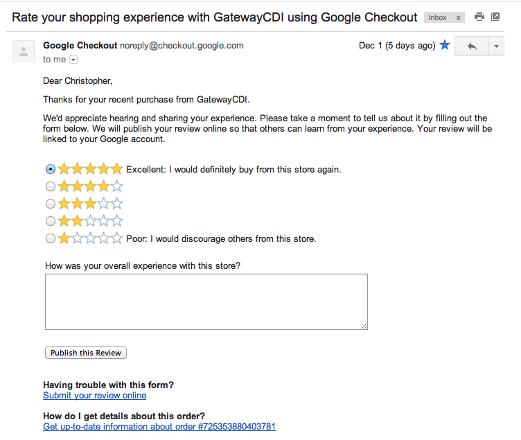 email marketing hacks Gmail example