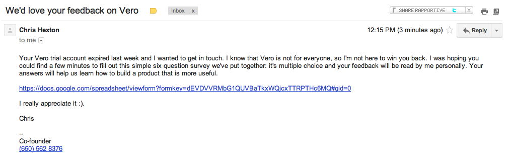Vero feedback from customers email example
