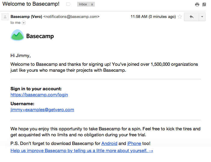 basecamp welcome email saas onboarding emails
