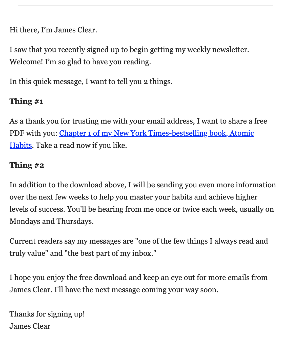 Onboarding email - James Clear welcome email