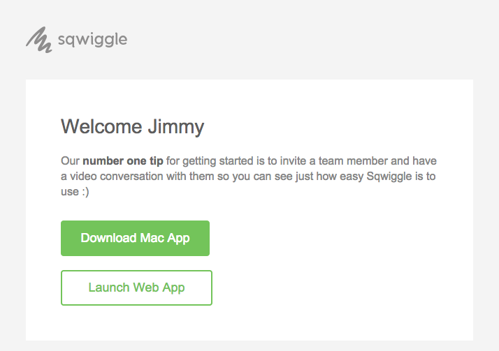 Onboarding emails - Sqwiggle welcome email