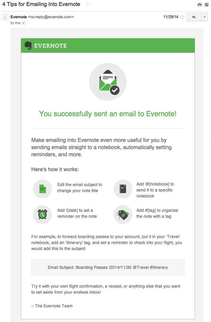 evernote saas onboarding email example