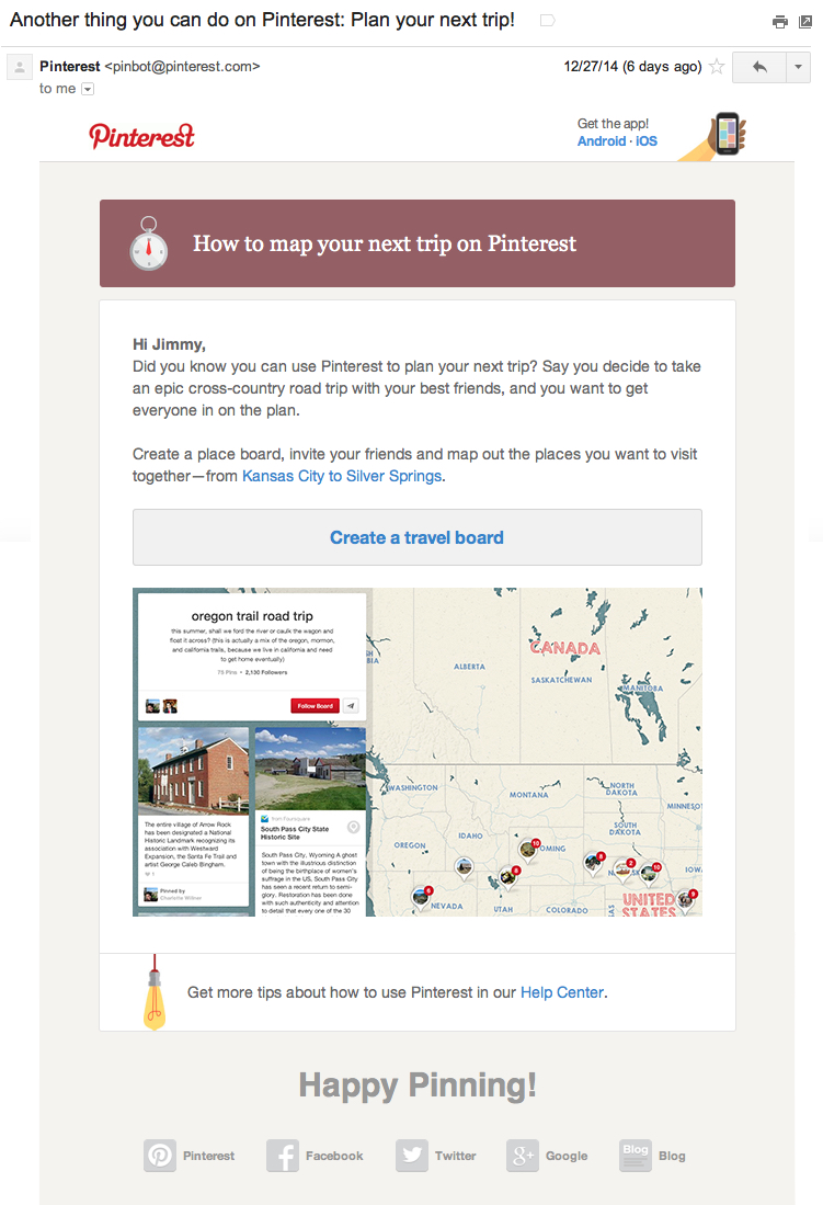 pinterest saas onboarding email example