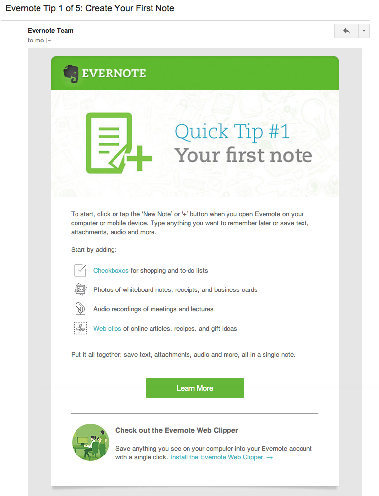 evernote onboarding email 1