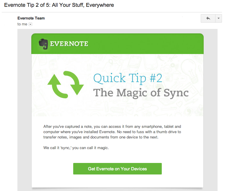 evernote onboarding email 2