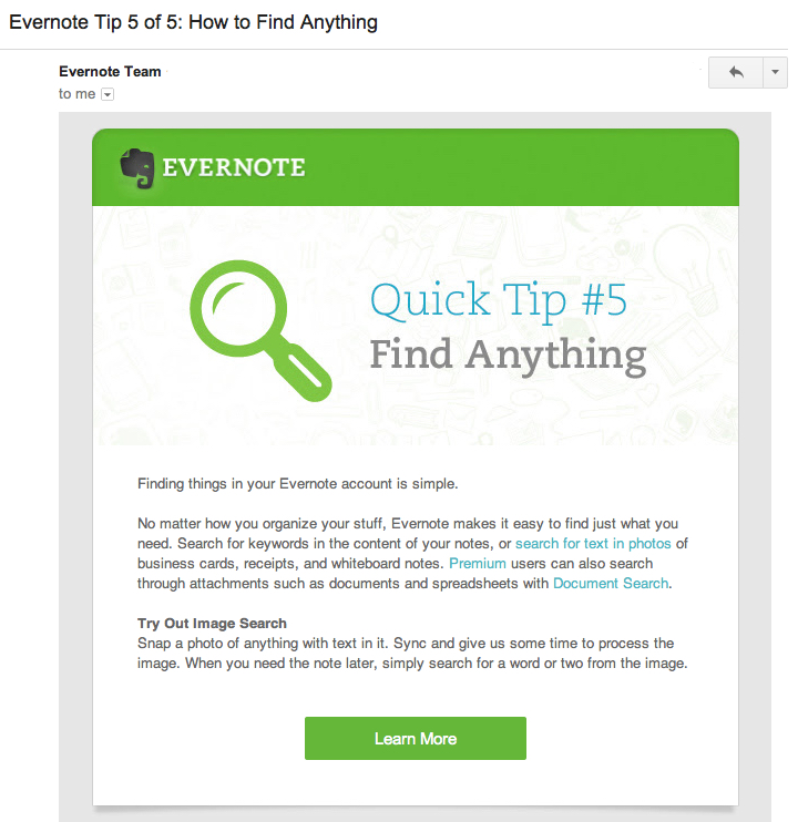 evernote onboarding email 5