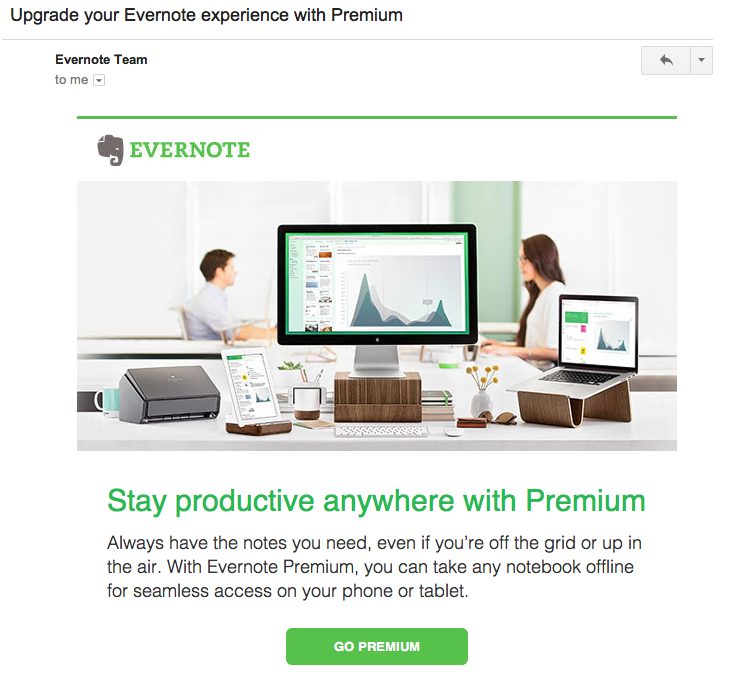 evernote promotional email 1
