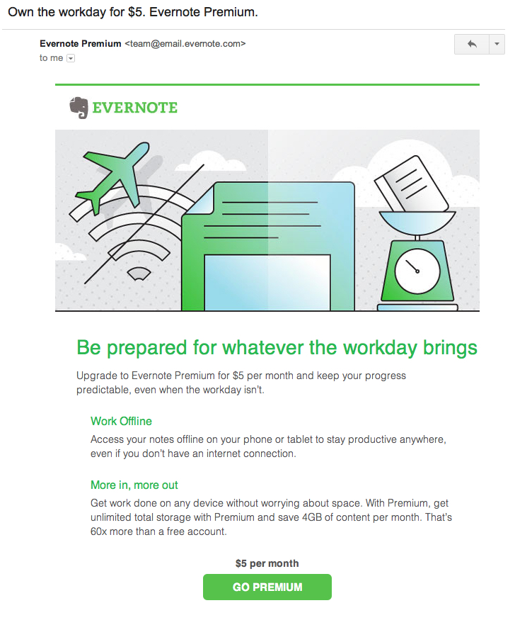evernote promotional email 2