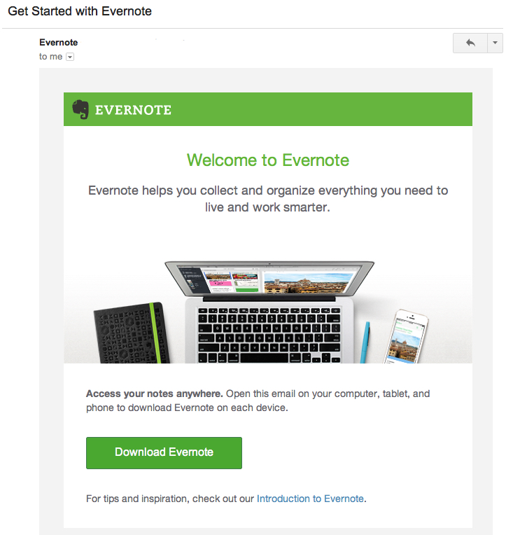 evernote welcome email