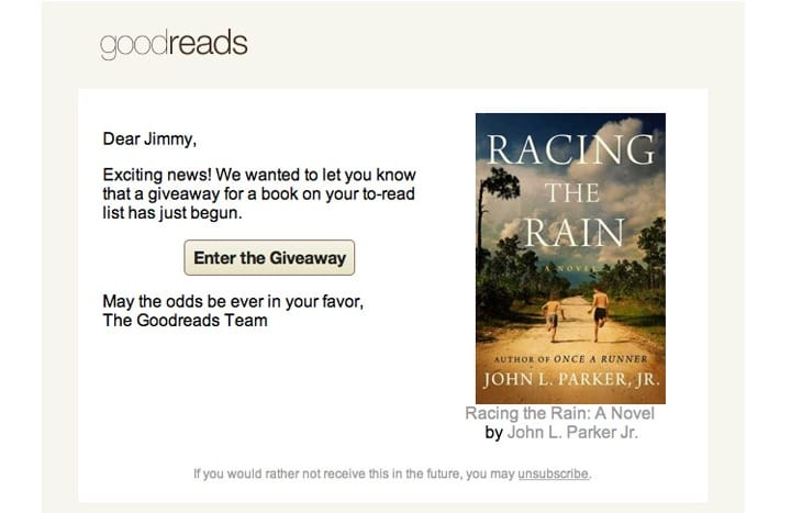 Goodreads email example