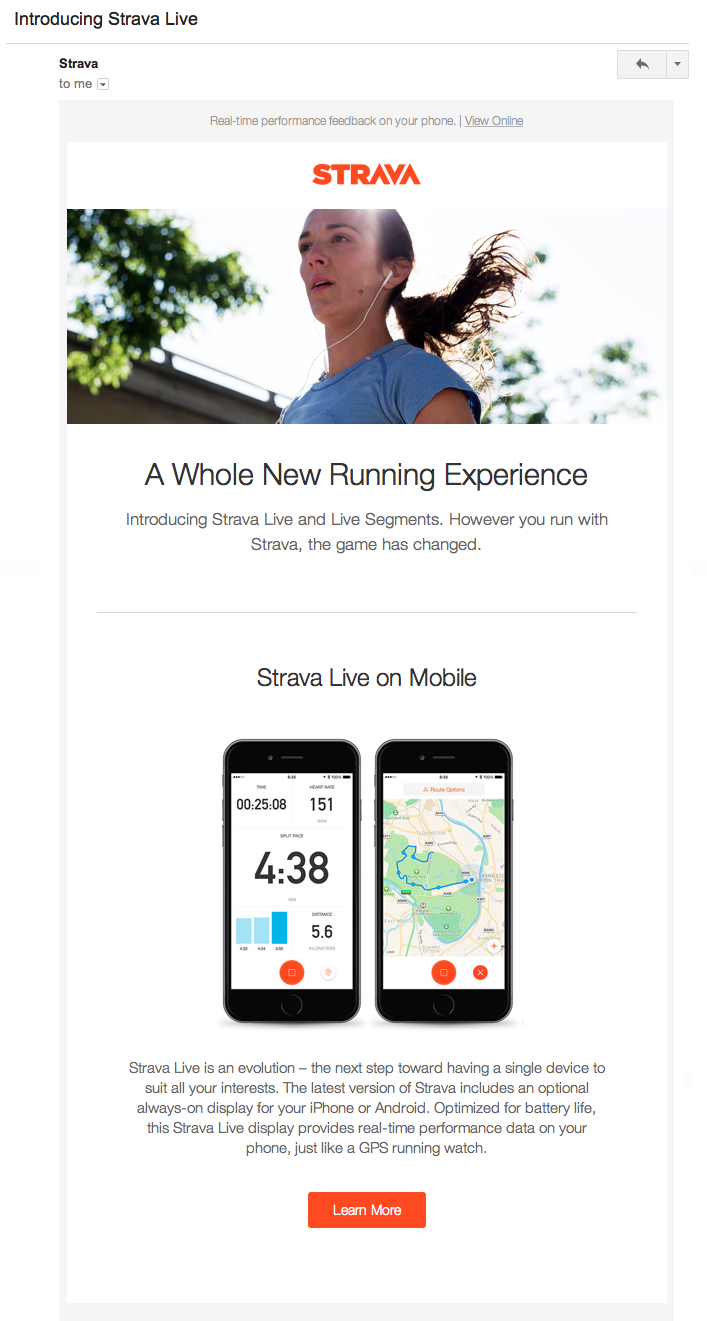 strava product update email