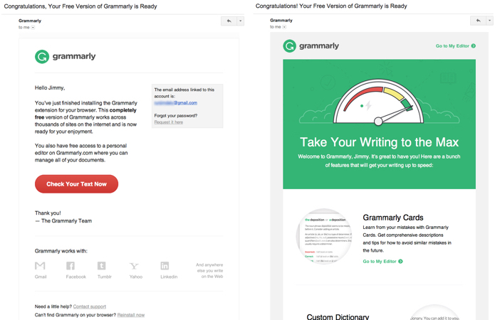 grammarly welcome emails