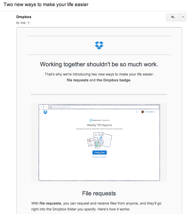 dropbox product update email