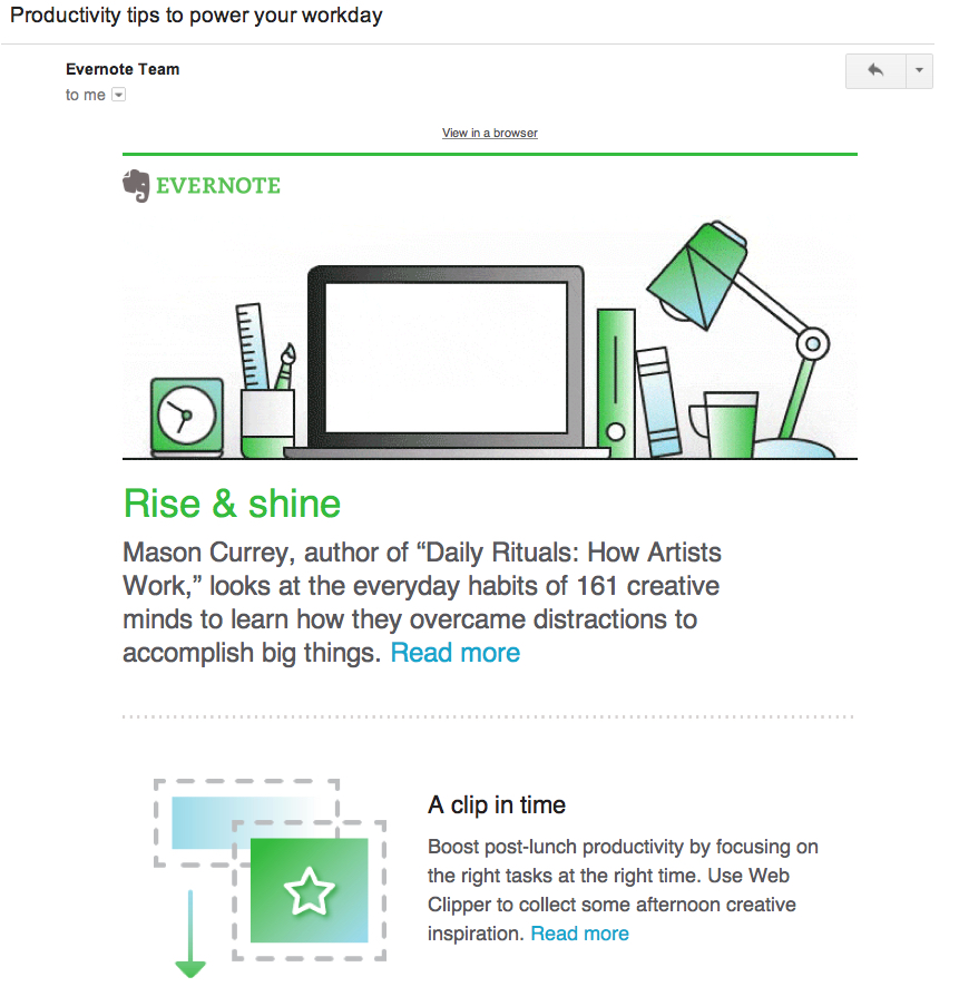 evernote content email