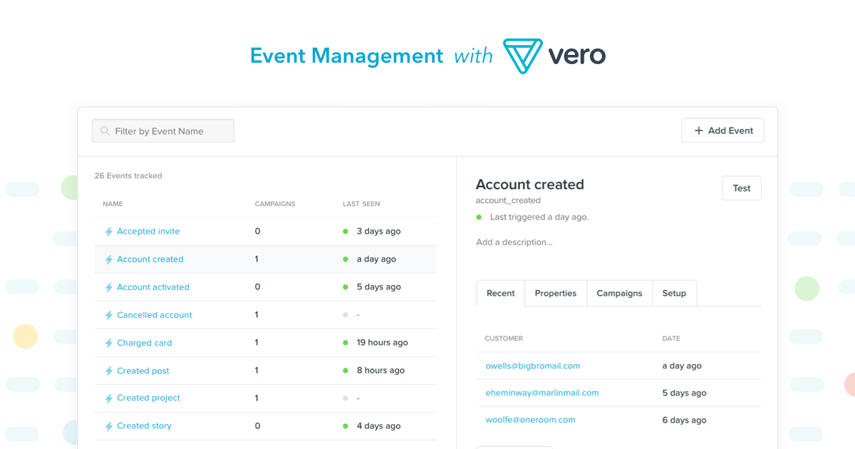 Event management with Vero 2