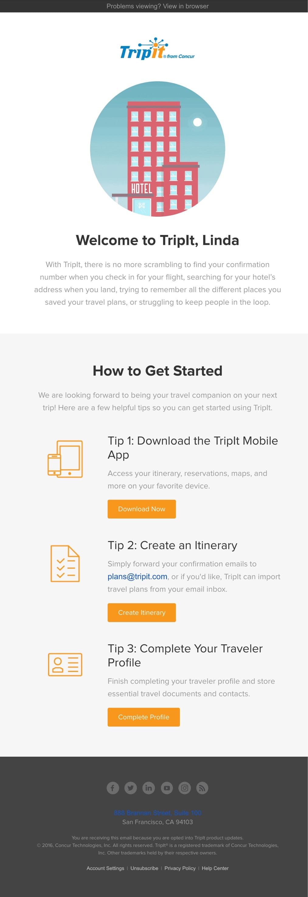 welcome email example tripit
