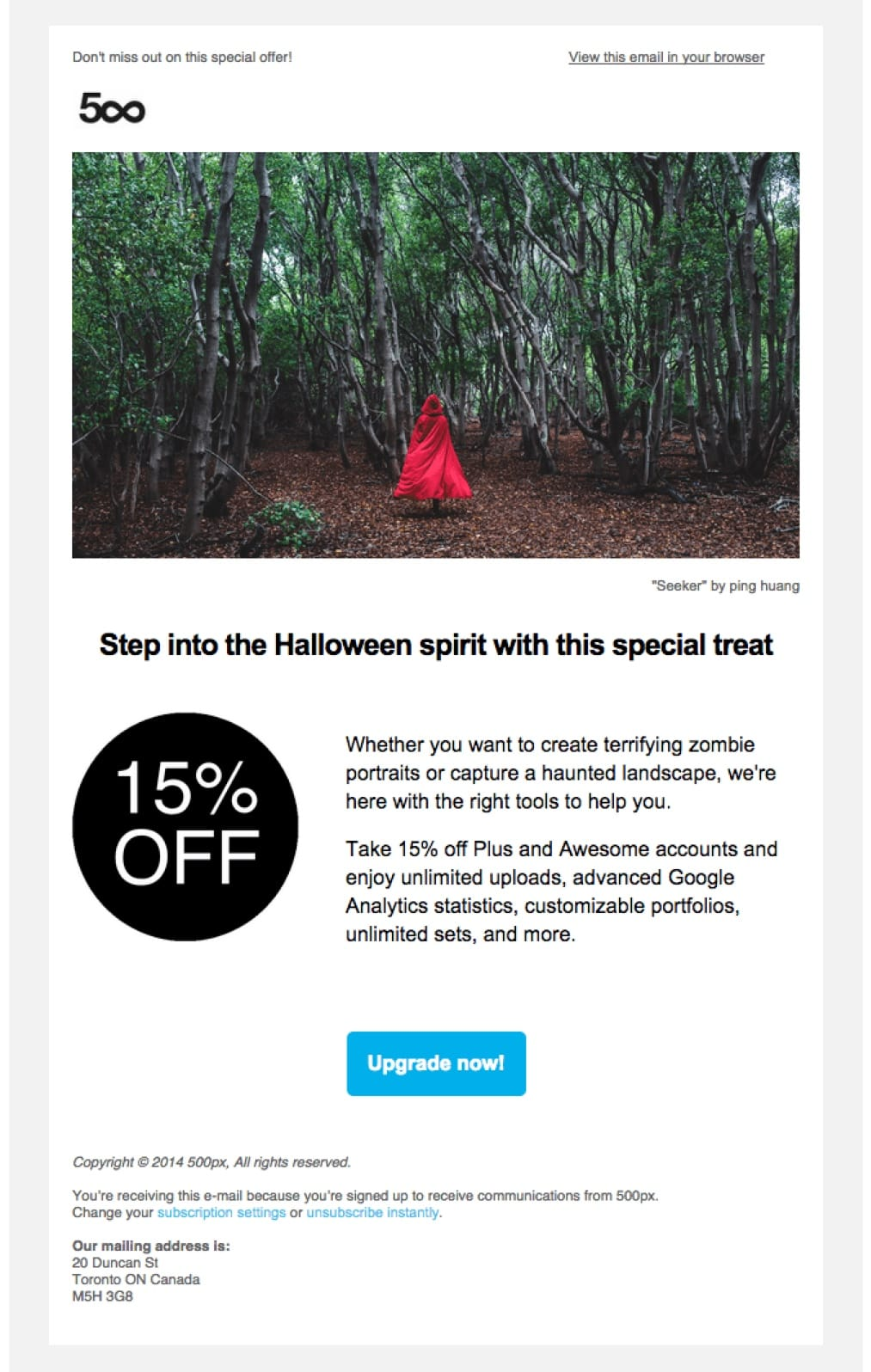 promotional email example 500px