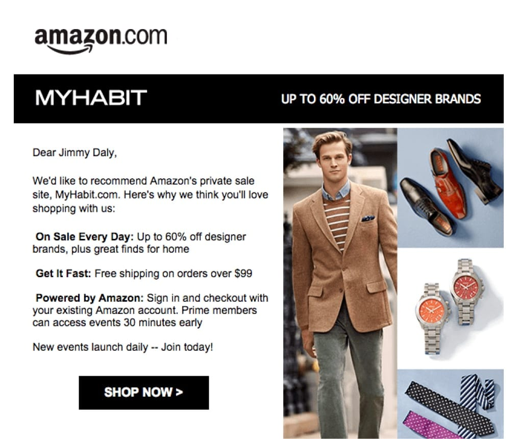 promotional email example amazon (invitation email)