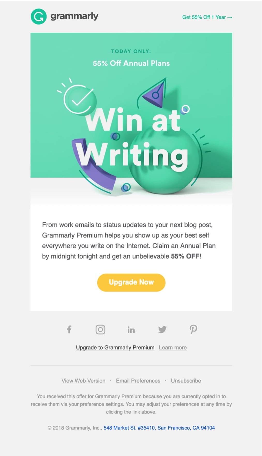 promotional email example grammarly (sale email)