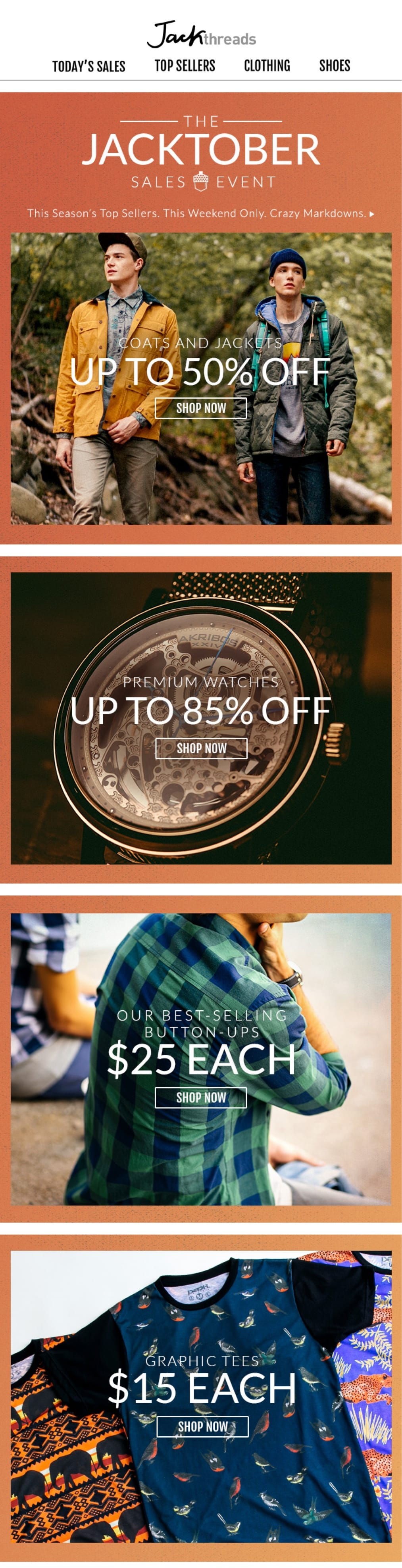 promotional email example jackthreads (sale email)