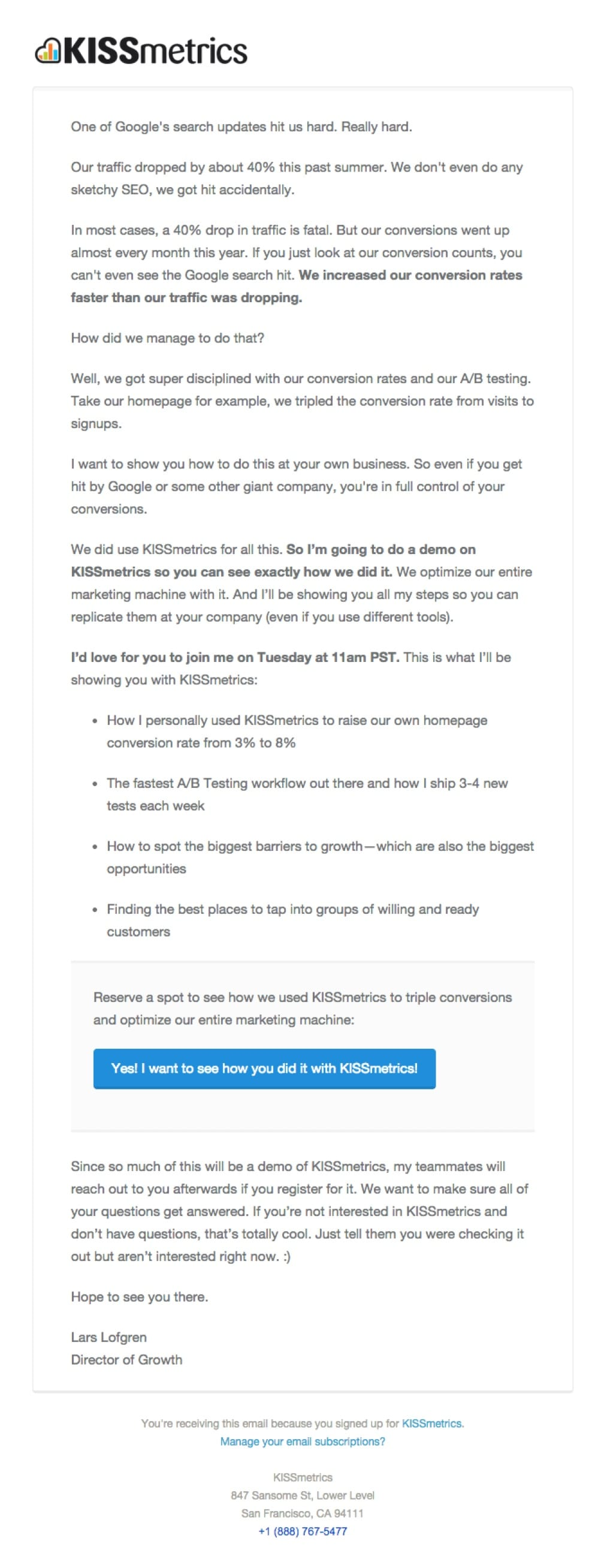 promotional email example kissmetrics (event announcement)