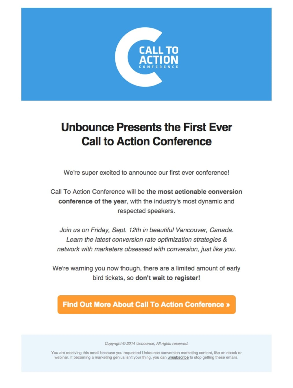 promotional email example unbounce (event announcement)