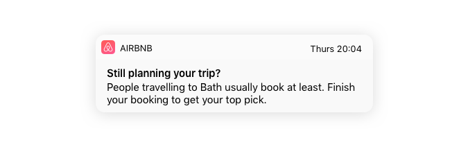 mobile push notification example airbnb