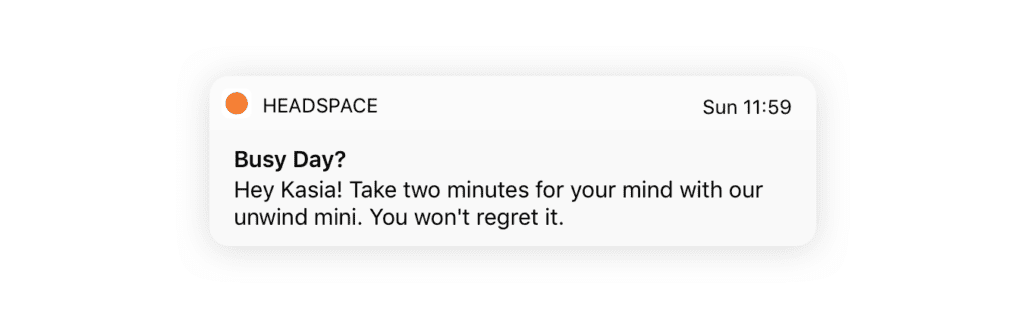 mobile push notification example headspace