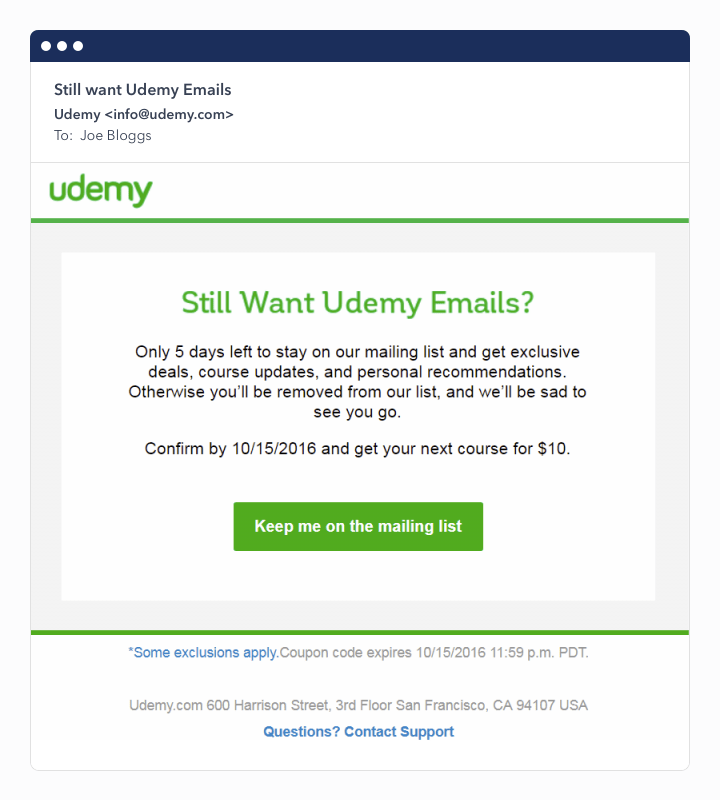 email deliverability udemy example