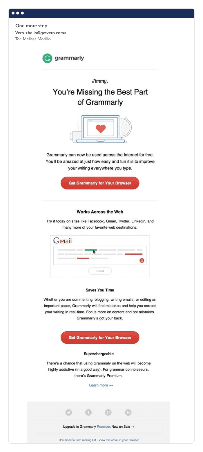 Grammarly improving retention rate email example