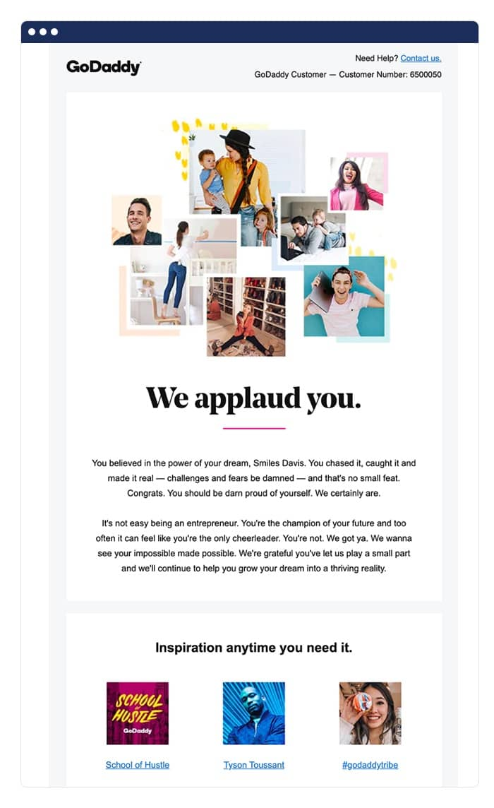 GoDaddy anniversary email example