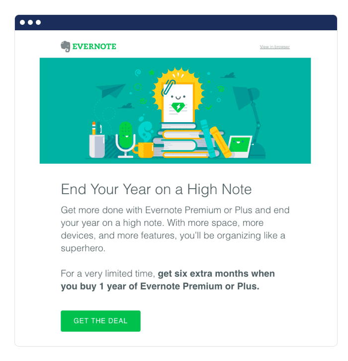 Evernote saas email marketing example