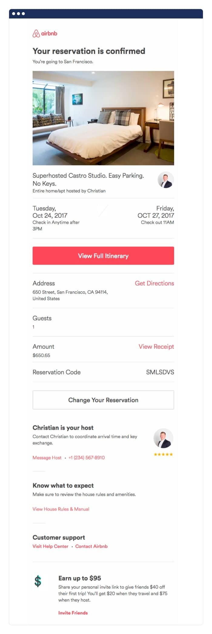Airbnb post-purchase email