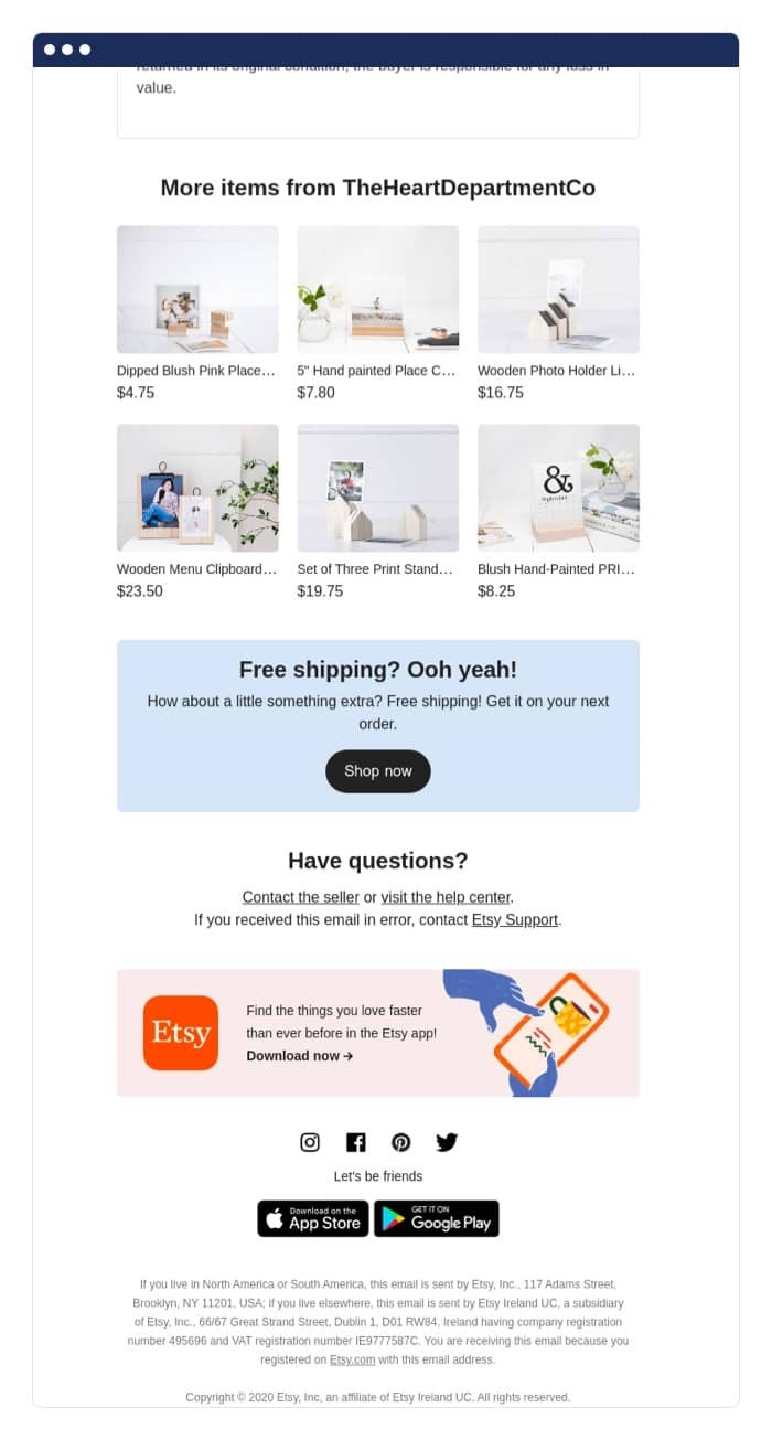 Etsy post-purchase email example