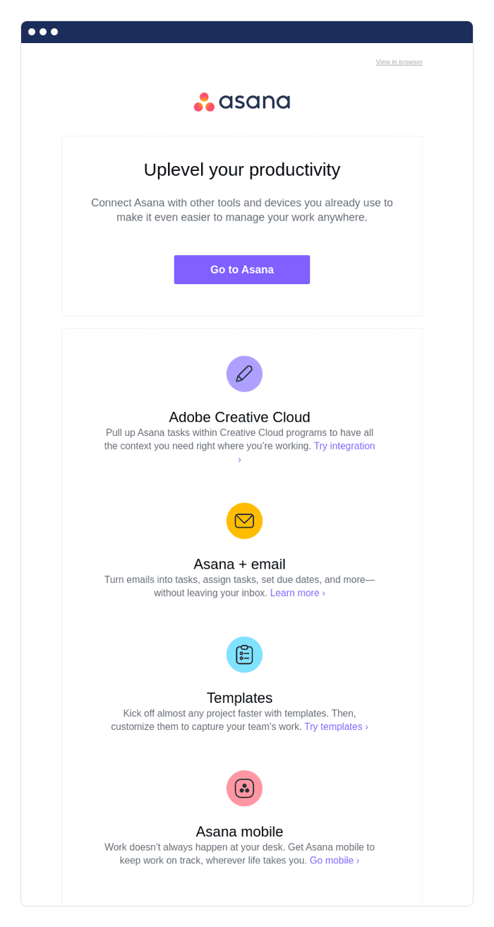 Asana free trial emails example