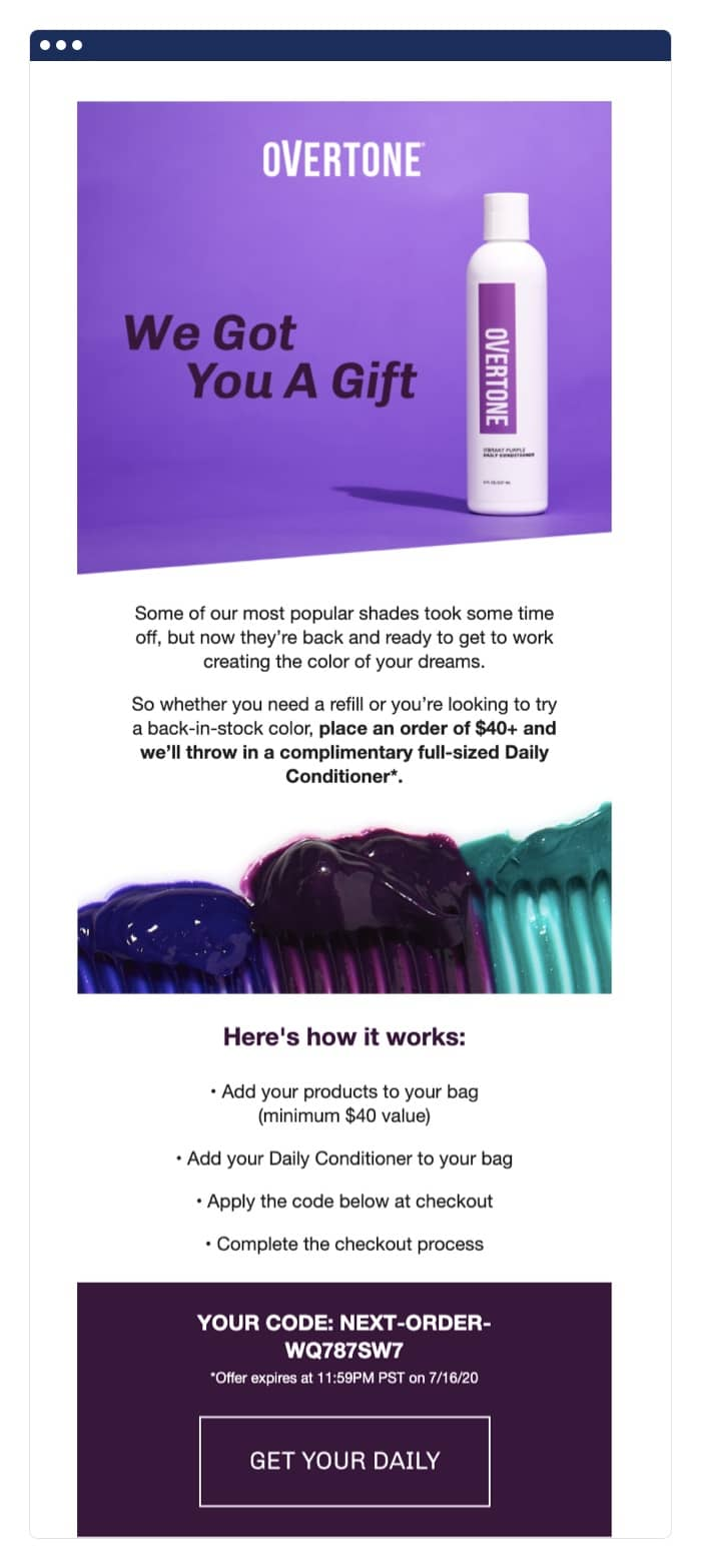 Overtone post-purchase email example