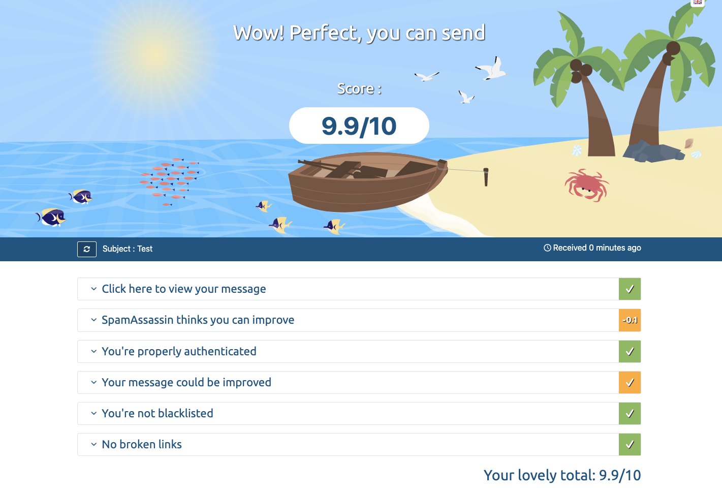 Mailtester email testing example
